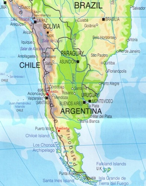 Chile and Argentina on